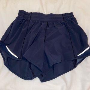 """navy lululemon shorts size 6 and 4"""" inseam"""